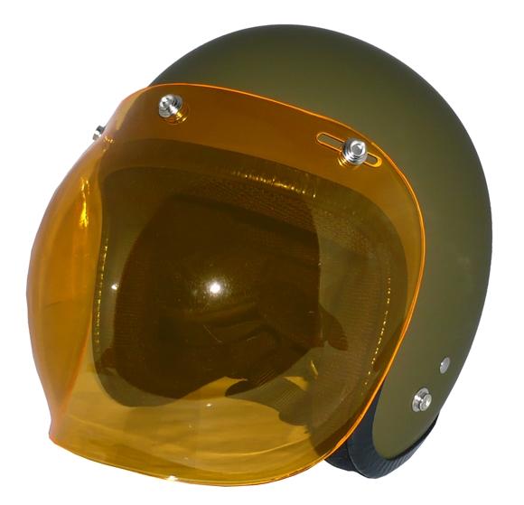 ZK-300(内装外して洗える!)スモールジェット(マットオリーブグリーン)+アンバーバブル   全排気量対応