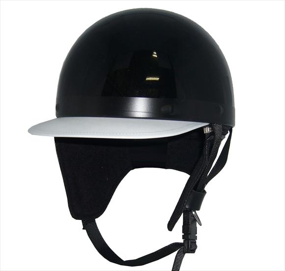 ZK-180 コルク半風半帽(メタリックブラック)耳当て脱着可 SG公認 公道走行可!125cc以下対応 コルク不使用で軽量!