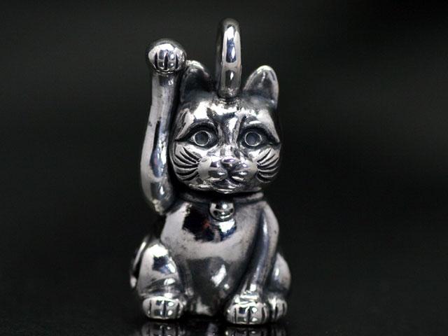 招き猫 右手挙げ/シルバーペンダントトップ