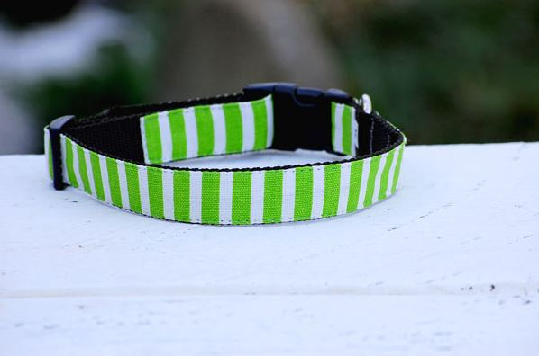 Isabella Cane Stripe 首輪 Light Green