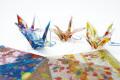 アソート100組セット 反射 折り紙 (千代紙) 鶴 リフレクター キッド 交通安全グッズ