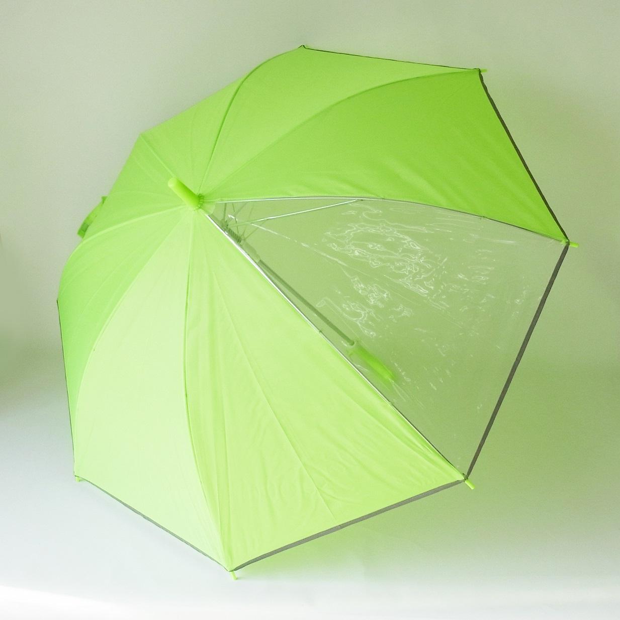 前が見える! 窓付き リフレクター ジャンプ 傘 反射付 学童 蛍光黄色 傘