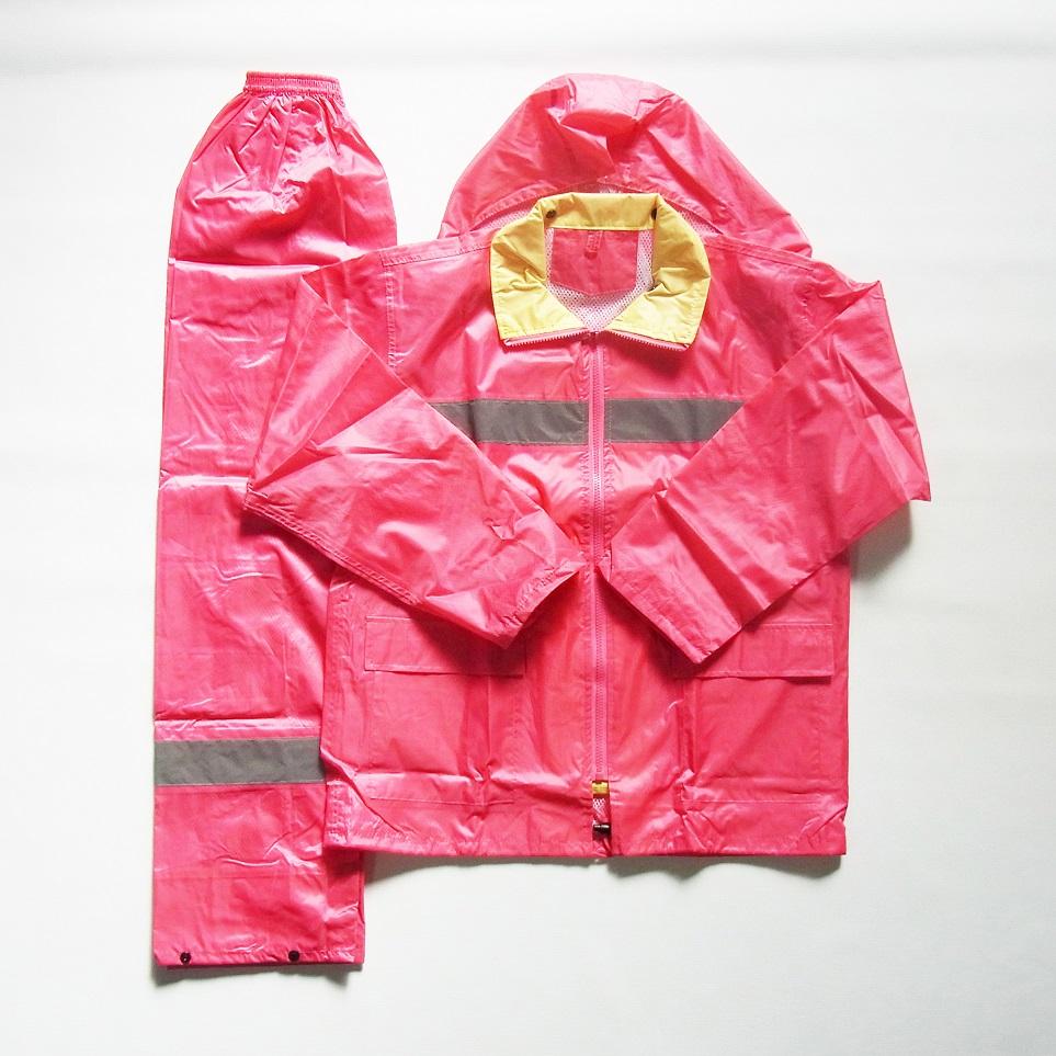 幅広 反射 付 レイン スーツ(パンツ付) ピンク 【タグなし】