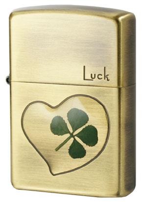 Zippo ジッポー 本物四つ葉のクローバー 真鍮古美 Luck幸運 メール便可