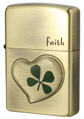 Zippo ジッポー 本物四つ葉のクローバー 真鍮古美 Faith誠実