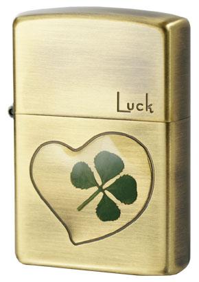 Zippo ジッポー 本物四つ葉のクローバー 真鍮古美 Luck幸運