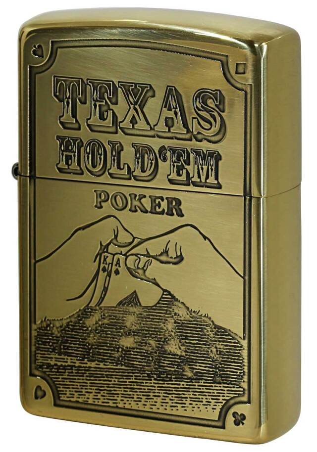 Zippo ジッポー POKER TEXAS HOLD'EM 真鍮いぶし メール便可