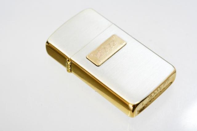 Zippo ジッポー 絶版・2000年製造 銀サテーナ&ゴールド スリム #7000SG メール便可
