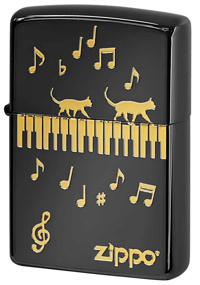 Zippo ジッポー Love Cat 猫が大好き ピアノ ブラック NKP-BK メール便可