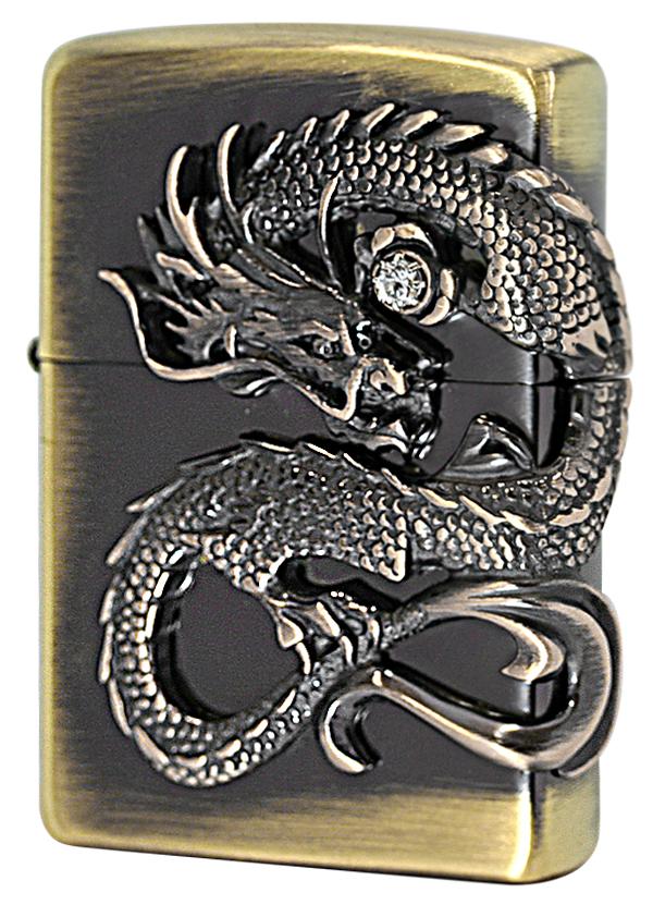 Zippo ジッポー 龍サイドメタル (1)真鍮古美 DS-BS メール便可