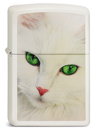 ヨーロッパ直輸入Zippo ジッポー White Cat Green Eyes 2003566