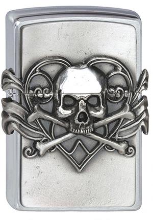 ヨーロッパ直輸入Zippo ジッポー Skull with Heart 2001330