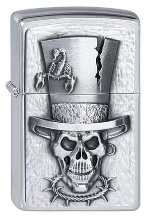 ヨーロッパ直輸入Zippo ジッポー Skull Top Hat 2001666