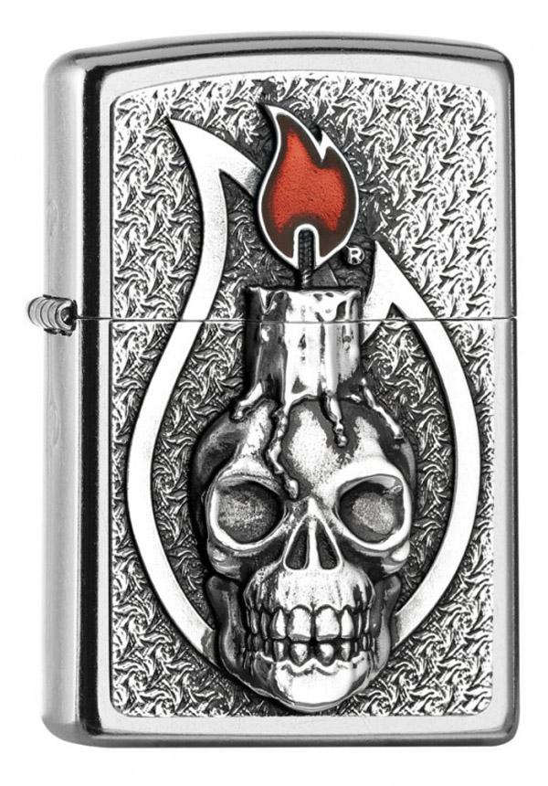 ヨーロッパ直輸入Zippo ジッポー Candle Skull Emblem 2005165