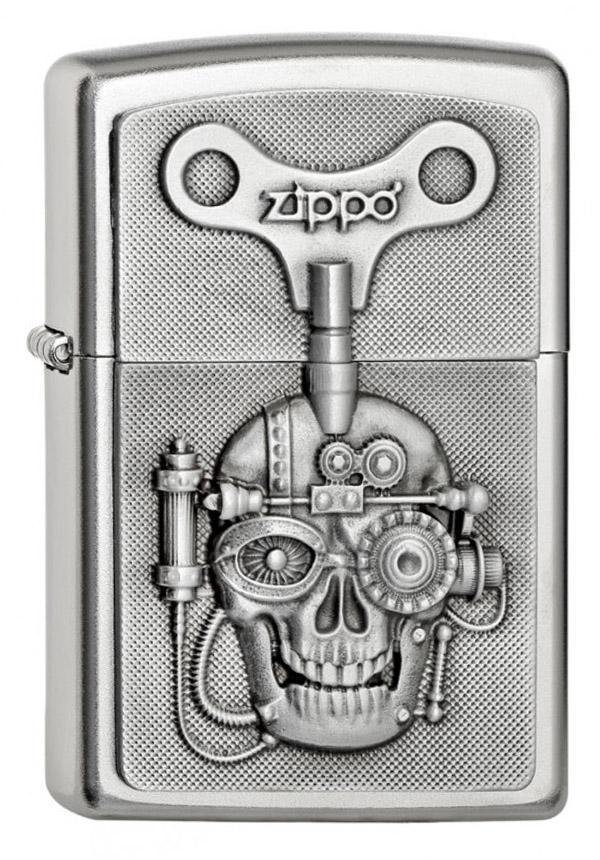 ヨーロッパ直輸入Zippo ジッポー Mechanical Skull Emblem 2005136 メール便可