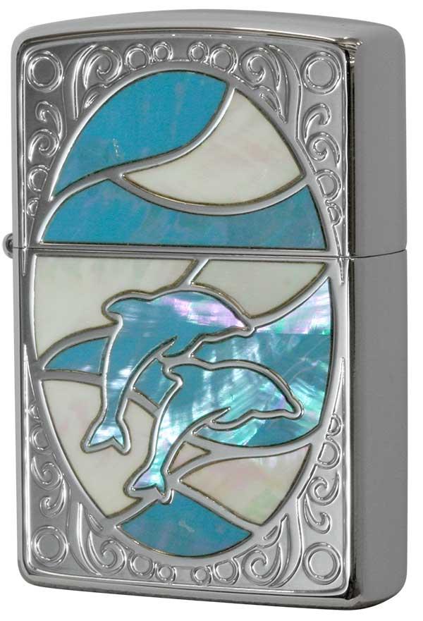 Zippo ジッポー Shell dolphin シェルドルフィン WH BL 1201S602