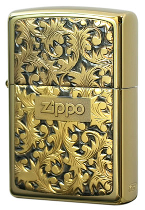 Zippo ジッポー 純銀プレート「唐草」 金チタン#K-2