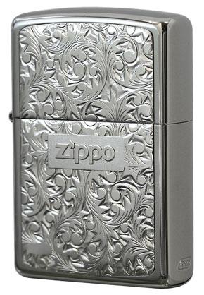 Zippo ジッポー 純銀プレート「唐草」 銀チタン#KR-2