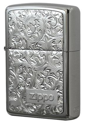 Zippo ジッポー 純銀プレート「唐草」 銀チタン#KR-3