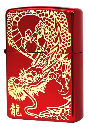 Zippo ジッポー RED DRAGON (G)IonRed 金サシ