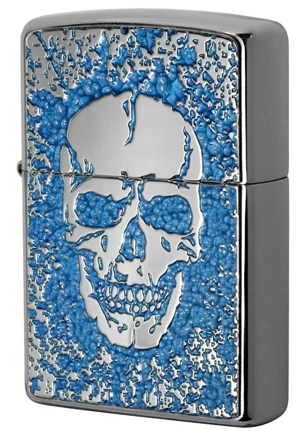 Zippo ジッポー 200 Flat Bottom Metal Paint Plate 2MPP-Skull BL メール便可