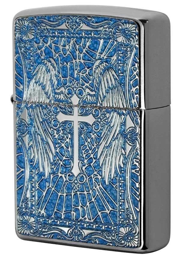 Zippo ジッポー 200 Flat Bottom Metal Paint Plate 2MPP-Cross BL メール便可