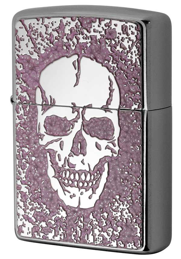 Zippo ジッポー 200 Flat Bottom Metal Paint Plate 2MPP-Skull PK メール便可