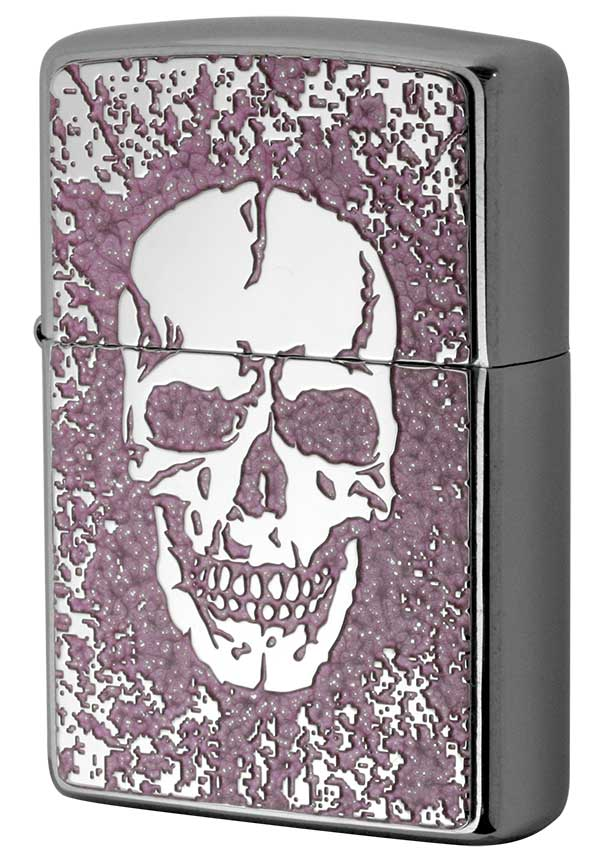 Zippo ジッポー 200 Flat Bottom Metal Paint Plate 2MPP-Skull PK メール便可 メール便可