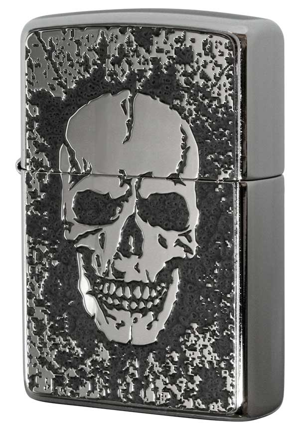Zippo ジッポー 200 Flat Bottom Metal Paint Plate 2MPP-Skull GY メール便可 メール便可