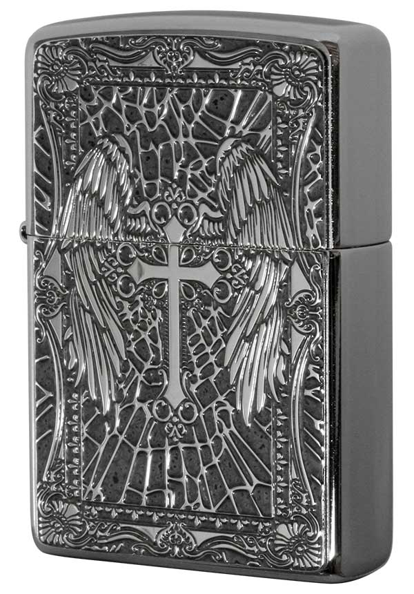 Zippo ジッポー 200 Flat Bottom Metal Paint Plate 2MPP-Cross GY メール便可