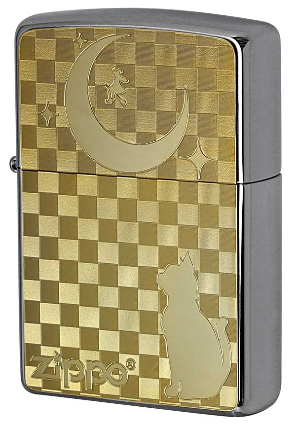 Zippo ジッポー 200 Flat Bottom Metal Paint Plate GP 2MP-ネコと月