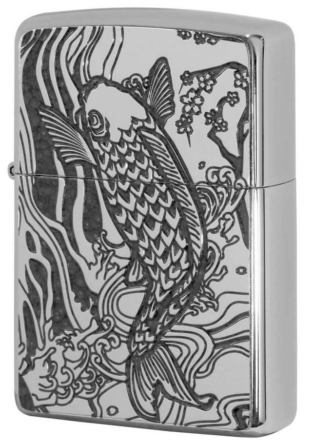 Zippo ジッポー 200 Flat Bottom Metal Paint Plate 2MPP-Carp GY メール便可