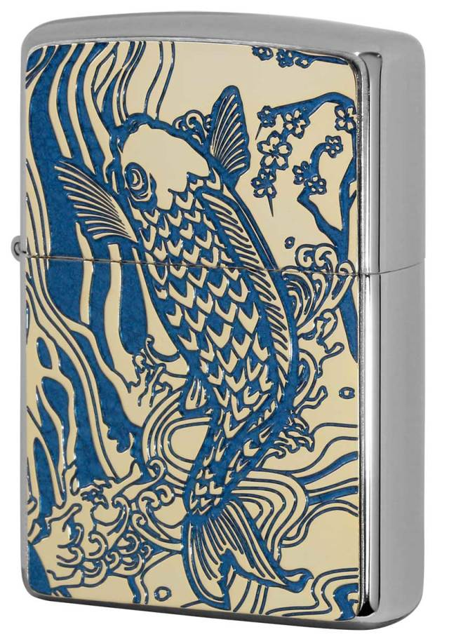 Zippo ジッポー 200 Flat Bottom Metal Paint Plate 2MPP-Carp BL GP メール便可