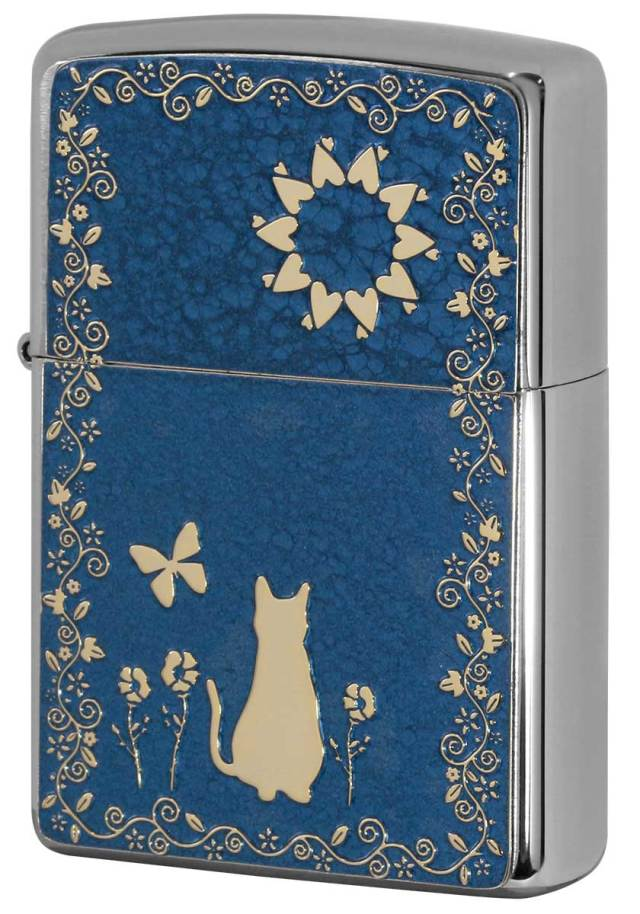 Zippo ジッポー 200 Flat Bottom Metal Paint Plate 2MPP-Cat BL GP メール便可