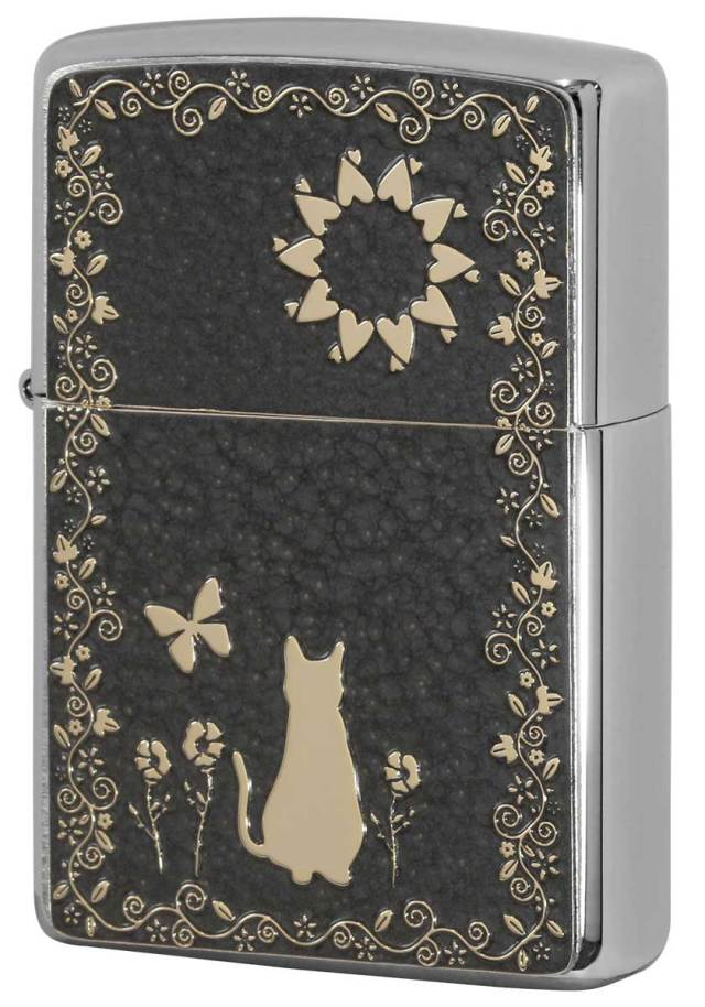 Zippo ジッポー 200 Flat Bottom Metal Paint Plate 2MPP-Cat GY GP メール便可