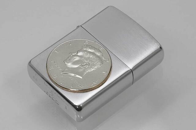 Zippo ジッポー 絶版・2005年製造 ARMOR アーマー #162 ハーフダラーコイン JFK メール便可