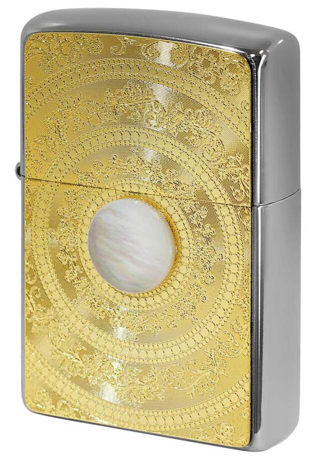 Zippo ジッポー Mother of Pearl 200 Flat Bottom Metal Paint Plate 白蝶貝 ゴールドプレート 2MP-MoP WH GP メール便可
