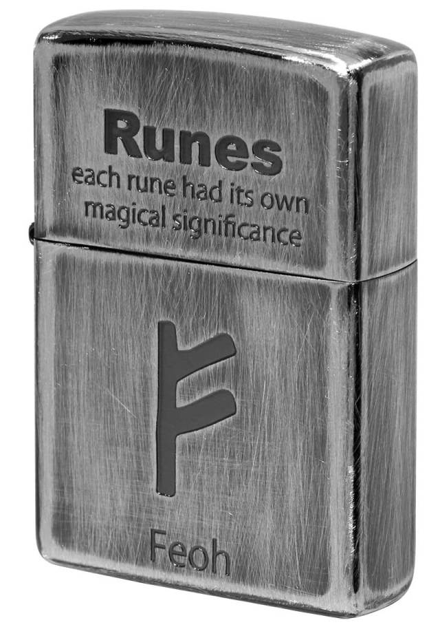 Zippo ジッポー Runes ルーン文字 フェオ 財産 2UDS-RUNES1 メール便可