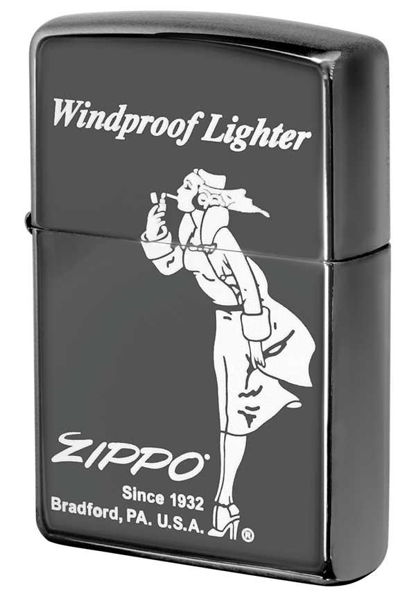Zippo ジッポー Processing in USA Black Ice ブラックアイス Windy ウィンディ2