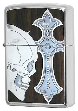 Zippo ジッポー Skull with Cross Wood SCW-B