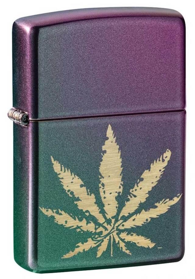 Zippo ジッポー Counter Culture Marijuana Leaf On Iridescent Violet 49185 メール便可