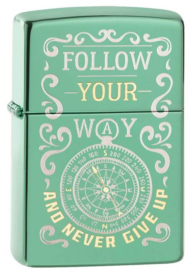 Zippo ジッポー Follow Your Way Never Give Up Compass 49161 メール便可