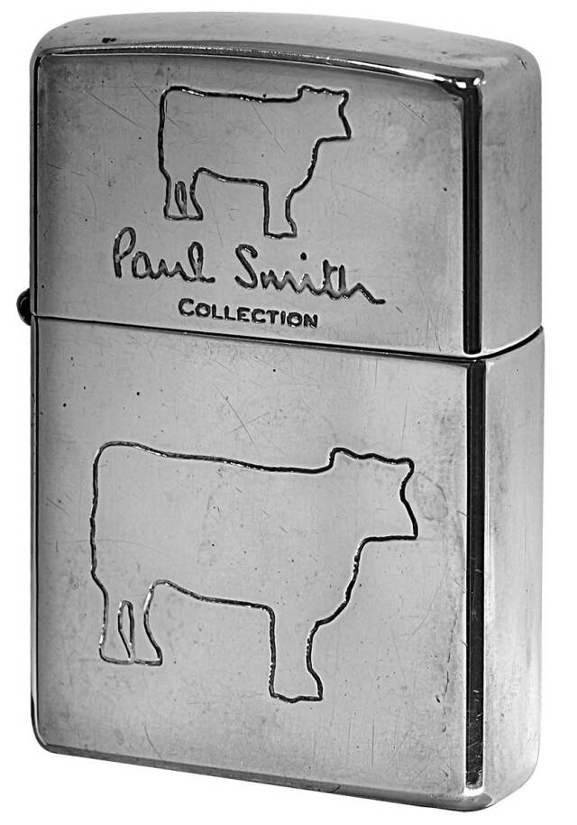 Zippo ジッポー 中古・Paul Smith ポール・スミス 箱なし 保証書なし 傷あり 1997年製造  Cow メール便可