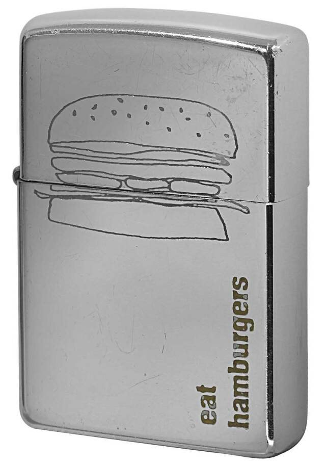 Zippo ジッポー 中古・Paul Smith ポール・スミス 箱なし 保証書なし 傷あり 2001年製造  ハンバーガー メール便可