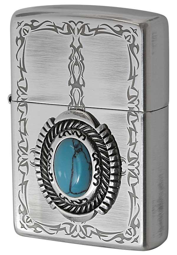 Zippo ジッポー Turquoise Style ターコイズスタイル イミテーションストーン トライバル柄 メール便可