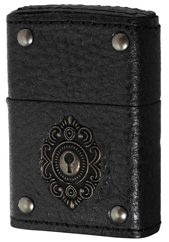 Zippo ジッポー LEATHER WINDING Keyhole Metal 革巻 キーホールメタル BK 2-50d ブラック