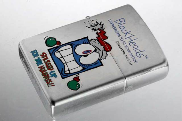 Zippo ジッポー 絶版・1997年製造 Block Heads FACE OFFS EXPRESSIONS TO FIT YOUR MOOD STESSED UP FOR THE HOLIDAYS!