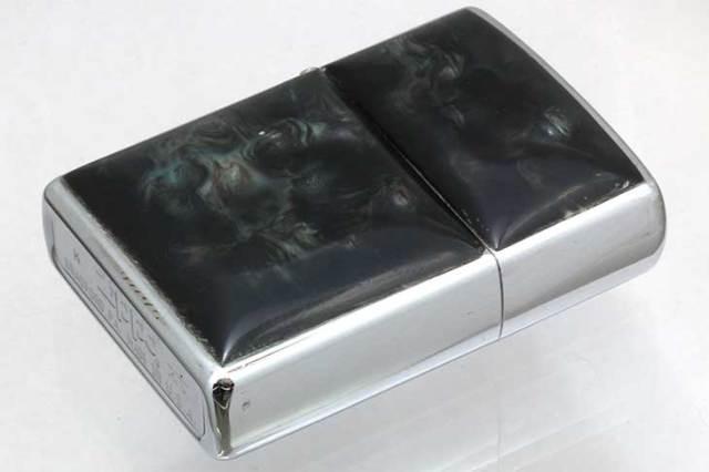 Zippo ジッポー 絶版・1999年製造 両面エポ盛り 天然貝柄 ブラック