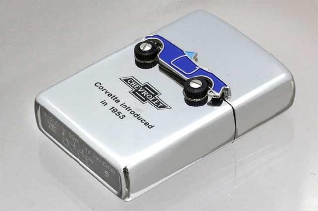 Zippo ジッポー 絶版・1995年製造 CHEVROLET Corvette introduced in 1953 化粧箱欠損あり No.CH-250N