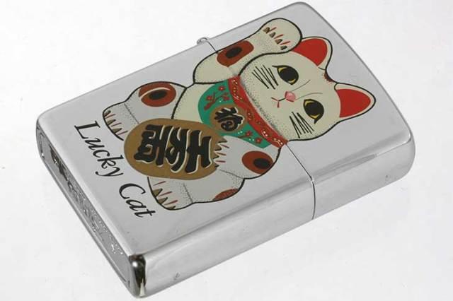 Zippo ジッポー 絶版・1993年製造 Lucky Cat 招き猫 千万両 メール便可